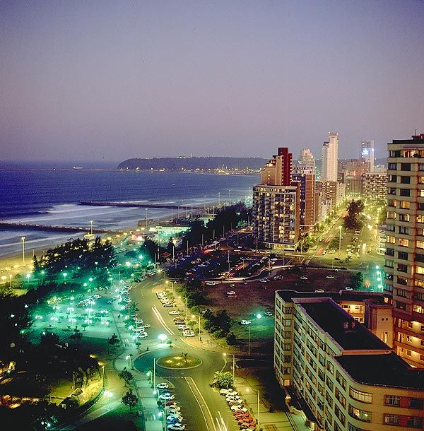 Downtown Durban comes alive with lights at night!