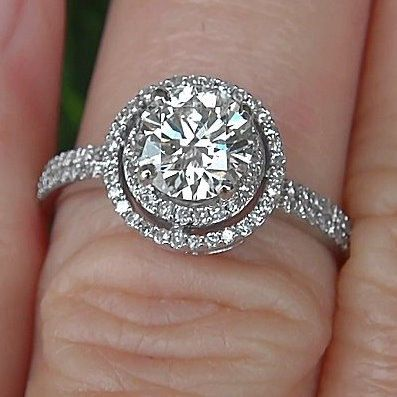 Diamond Engagement Ring -14K white gold - 1.25 carat Round - Double Halo - Pave - Antique Style - Weddings- Luxury- Brides. $3,750.00, via Etsy.
