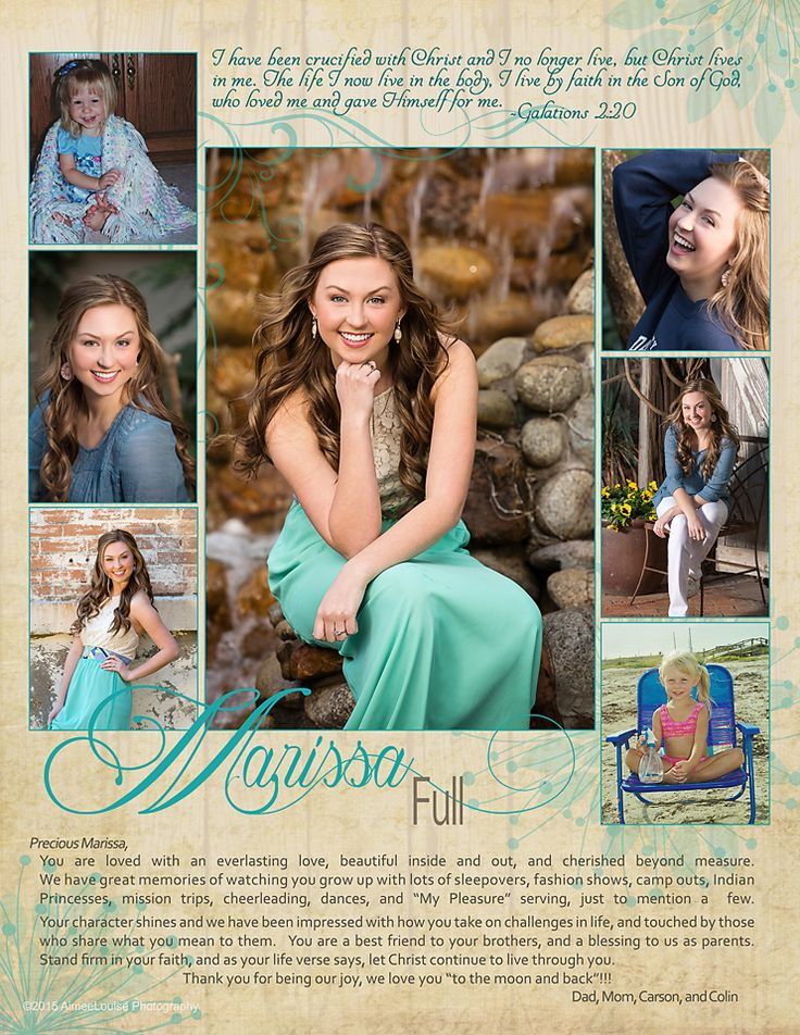Our Class of 2015 Senior Yearbook Tribute pages.  We provide complimentary custom design with every senior session