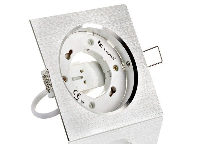 New Schlichter und edler Einbaurahmen aus Aluminium in eckig mit Sockel im Design Aluminium geb rstet Ausgelegt f r Leuchtmittel bis max Watt