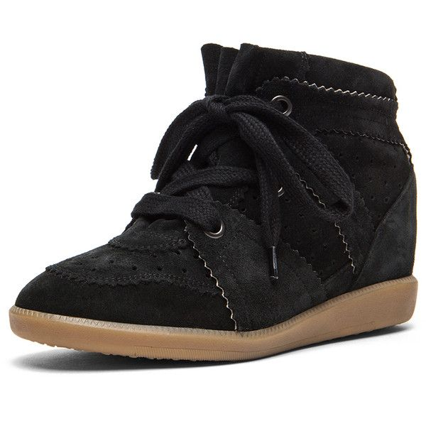 Isabel Marant Bobby Calfskin Velvet Leather Sneakers (890 AUD) found on Polyvore featuring shoes, sneakers, perforated leather shoes, rubber sole shoes, isabel marant, perforated shoes and isabel marant sneakers