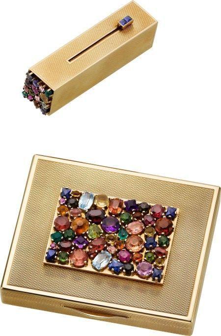 Vintage jeweled compact and lipstick case.