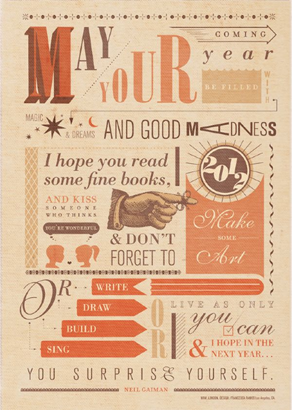 """May Your Coming Year"" Typography Print: Another Gaiman quote with a design made to hang, with our favorite sentiment, ""I hope you read some fine books."""