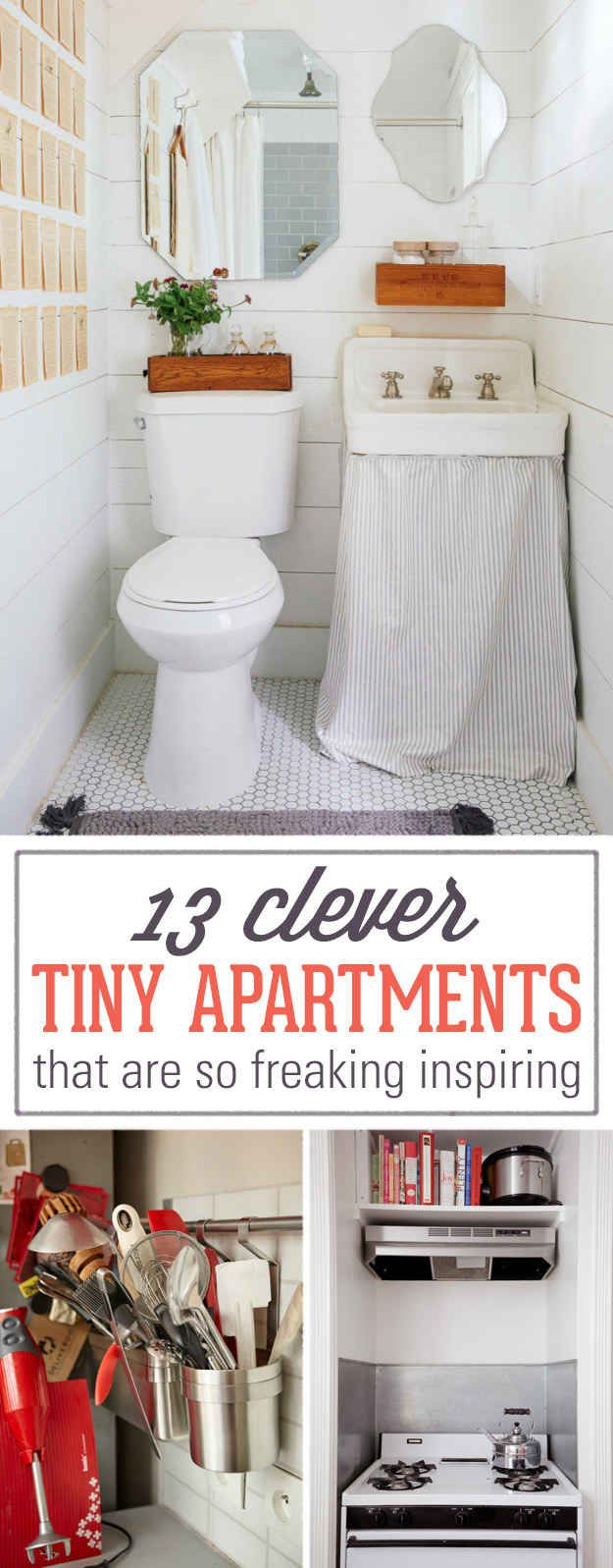 Bathroom ideas for small apartment bathrooms - 13 Clever Tiny Apartments That Are So Freaking Inspiring
