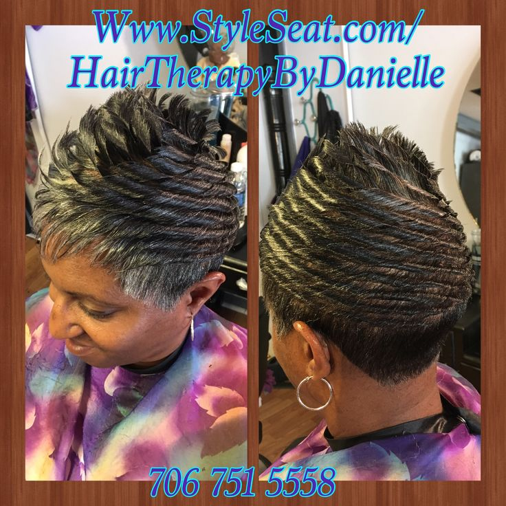 Relaxed Hair Short Cut With Spike Like Curls