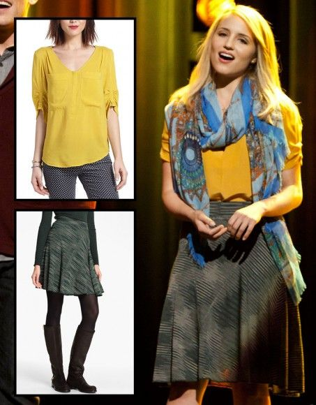 Quinn's green skirt with yellow top and blue scarf on Glee.  Outfit Details: http://wornontv.net/8198/ #Glee
