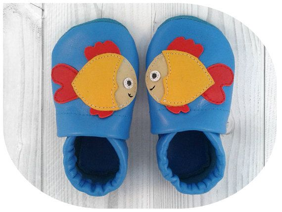 Handmade soft sole leather shoe - Fish blue-red-yellow, for baby, toddler, children, adult