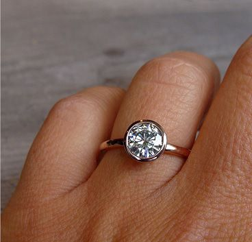 Rose Gold bezel set Engagement Ring