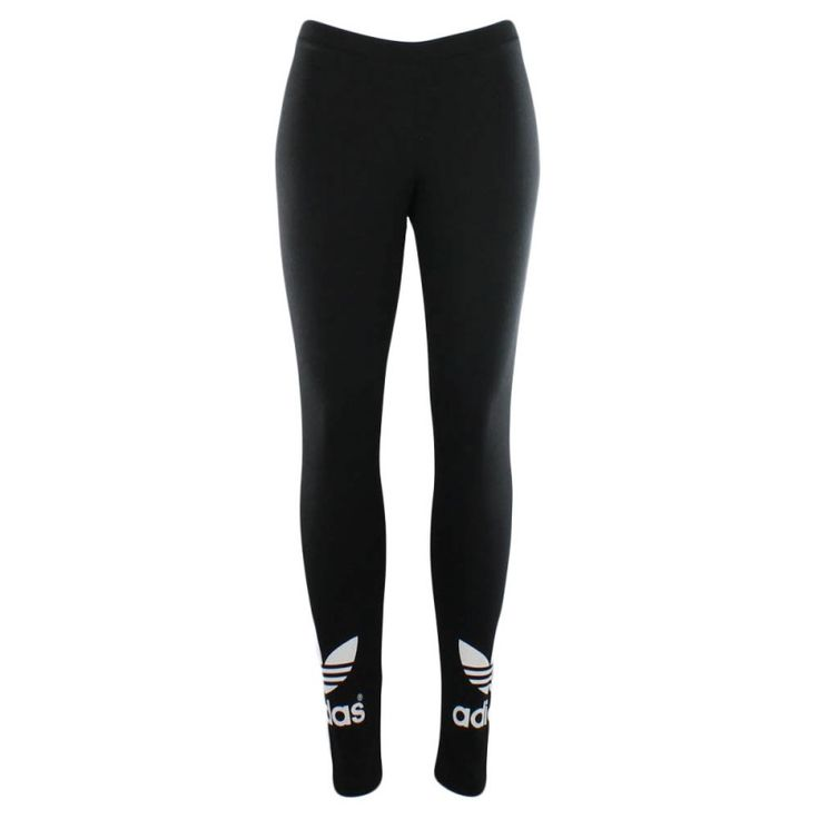 adidas Womens Trefoil Leggings These all black leggings boast a white  Trefoil adidas logo at the cuff of each leg, making them an easy  combination to any ...