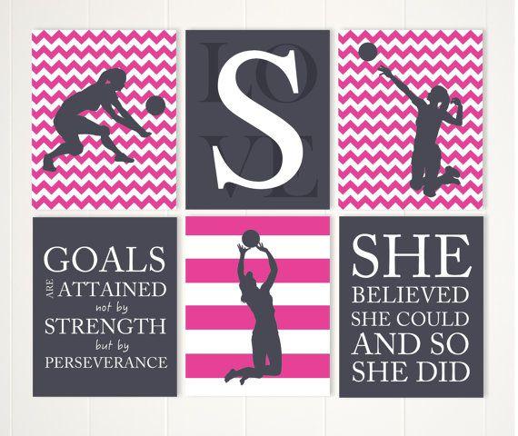 Volleyball Wall Art, Girl Volleyball Player, Volleyball Room Decor, Girls  Quote Art, Motivational Girls Art,set Of 6