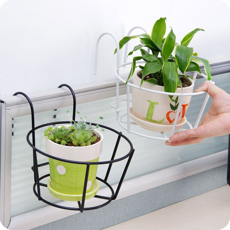 Hanging Flower Pot Hook Tub Home Office Window Wall Plant Pots Vase Iron Flower Holder Balcony Garden Accessories