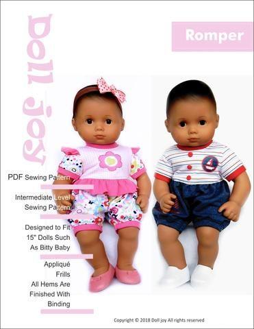 1e7817b1b82 Doll Joy Romper PDF Doll Clothes Sewing Pattern for 15 inch Dolls such as Bitty  Baby