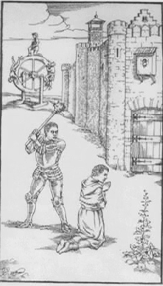 """Ⅷ. Eighth Gate """"Virture is conquered""""    Before the fortified walls of a town, a kneeling  woman offers her neck to the executioner. In the  background, a wheel of fortune with three people  on it-one at the summit, another climbing and  another descending."""