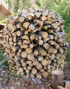 Build a holz hausen to dry firewood. What a beautiful pile of firewood to have in the yard!
