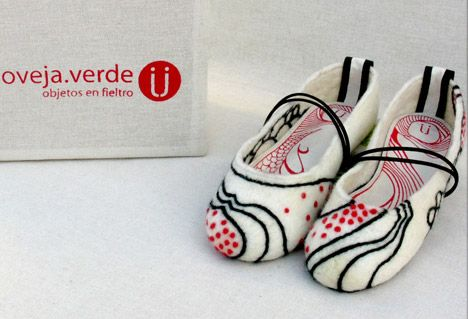 Wool Felt Slippers and Accessories, by Oveja Verde : TreeHugger