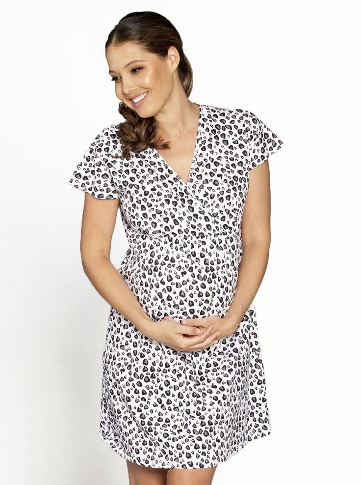 Maternity Nursing Night Dress - Black Dots Heart, $39.95, down to just $29, is a comfortable, stylish  crossover night dress with easy nursing access.