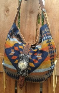 ☯☮ॐ American Hippie Bohemian Style ~ Pendleton Wool and Carmel Leather Western Handbag