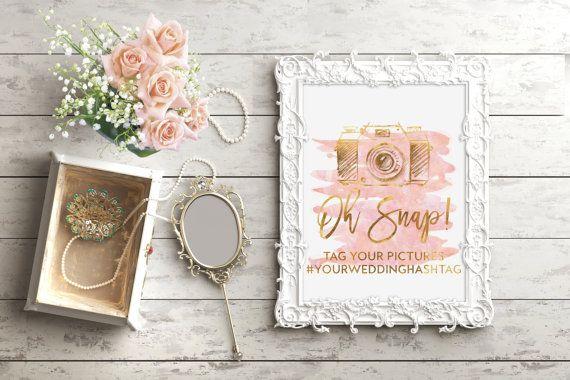Wedding Hashtag Sign, Oh Snap Print, Oh Snap Wedding Sign, Gold Wedding Print, Chic Wedding, Pink Watercolor, Camera Print, Cute Wedding
