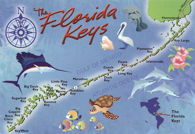 Love this slightly retro Florida Keys map. Because it's not really a map without a giant swordfish.