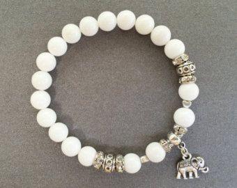 Braccialetto bianco per la ragazza regalo per la mamma elefante bracciale per sua estate elefante fascino braccialetto di perline Bracciale tibetano gioielli braccialetto