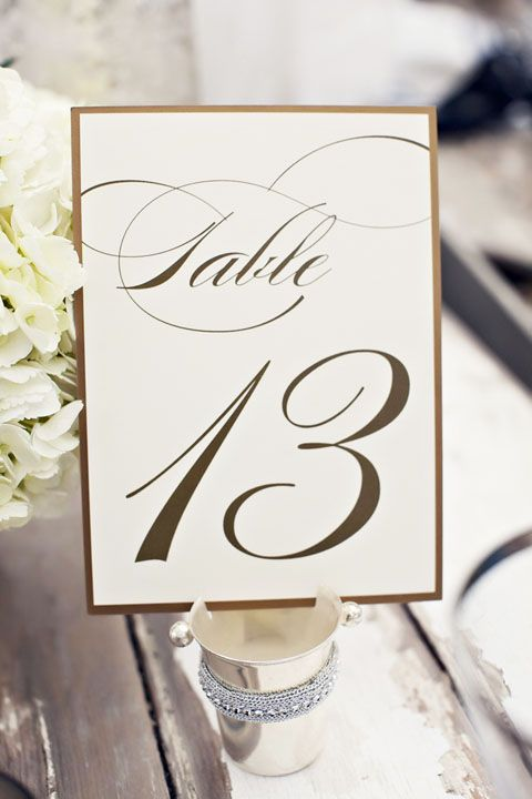 Gold Table Numbers, Wedding Table Numbers.  How about section for long tables?