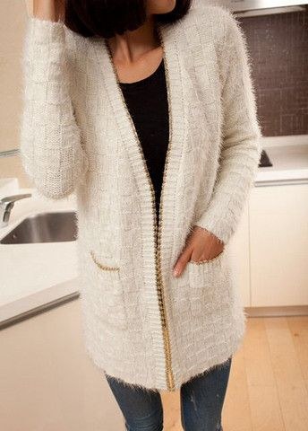 Long Style Beige Mohair Cardigans Coat for Woman – teeteecee - fashion in style