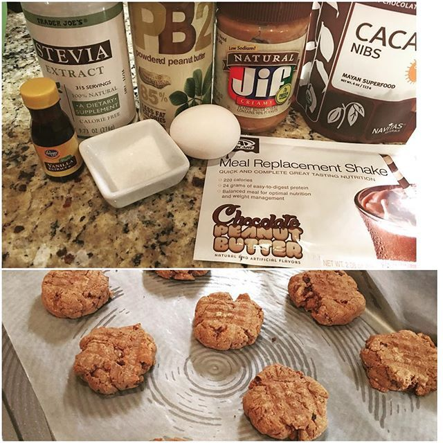 Flourless peanut butter cookies make us real happy up in here. **1/2 c natty PB.  I normally would have used Trader joes with a tad less sugar but we were out and desperate times call for the Jif Natural. ** 2 tbsp PB2 (or your fave powdered PB) ** one egg ** pinch of sea salt ** 1/2 tsp vanilla ** 1 packet of Advo chocolate peanut butter meal replacement shake ** 2 tbsp warm water ** a shake or two of the stevia can.  You could also sub with 1/4 c of agave.  ** 2 tbsp cacao nibs.   Do you…