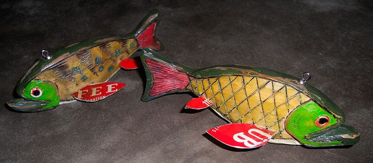 Fish Spearing Decoys, Folk Art Fishing Decoys for sale.  Wanted:  Mizera decoys in original condition, Minnesota Folk art decoys, Ice Fishing Spears and original Decoy Boxes.