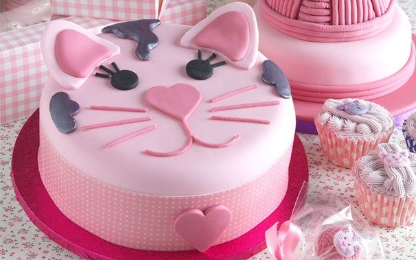 cat face cakes | Try out our Cat Face cake for your pet shop themed party.