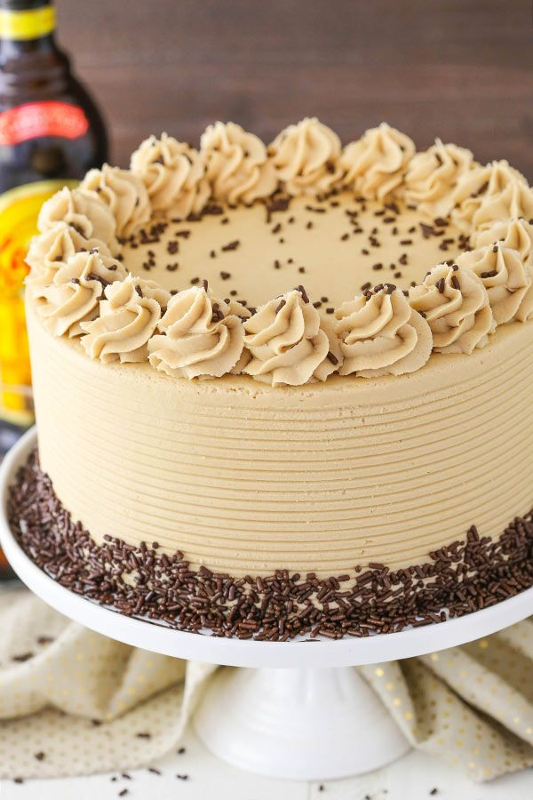 Kahlua Coffee Chocolate Layer Cake - moist, soft chocolate cake with Kahlua coffee frosting! So good!