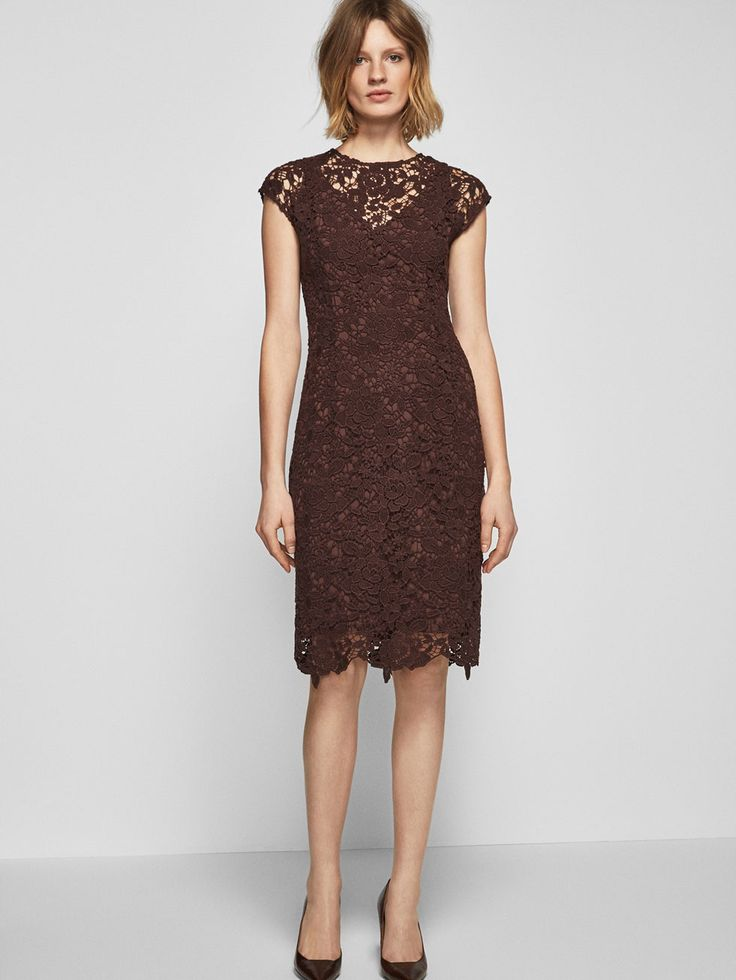 Autumn winter 2016 WOMEN´s BURGUNDY GUIPURE LACE DRESS at Massimo Dutti for 899. Effortless elegance!