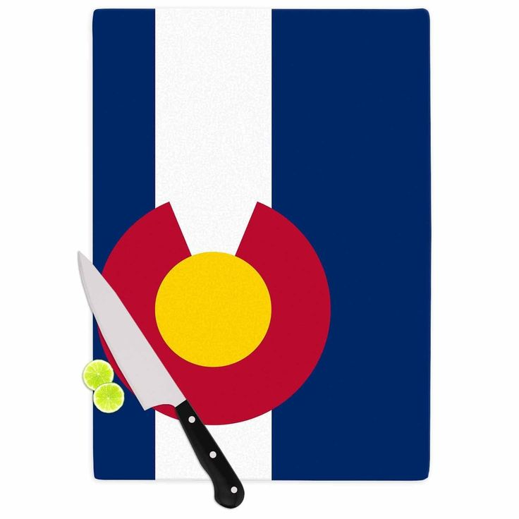 "Kess InHouse Bruce Stanfield ""Flag of Colorado II"" Blue Red Cutting Board"