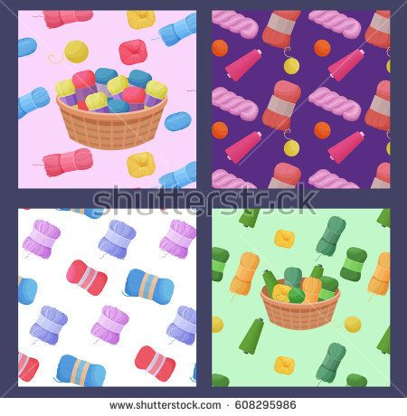 colorful patterns vector set with woolen yarn skeins for knitting and handmade concept
