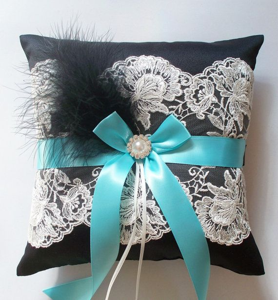 Aqua Blue Wedding Ring Pillow in Black Satin with Ivory Lace, Satin Bow, Black Feathers and a Pearl/Crystal Center - The APRIL Pillow