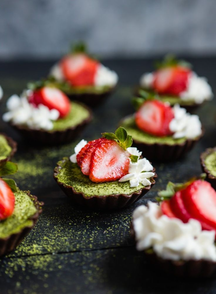 Vegan Strawberry Matcha Brownie Tarts with Coconut Whipped Cream