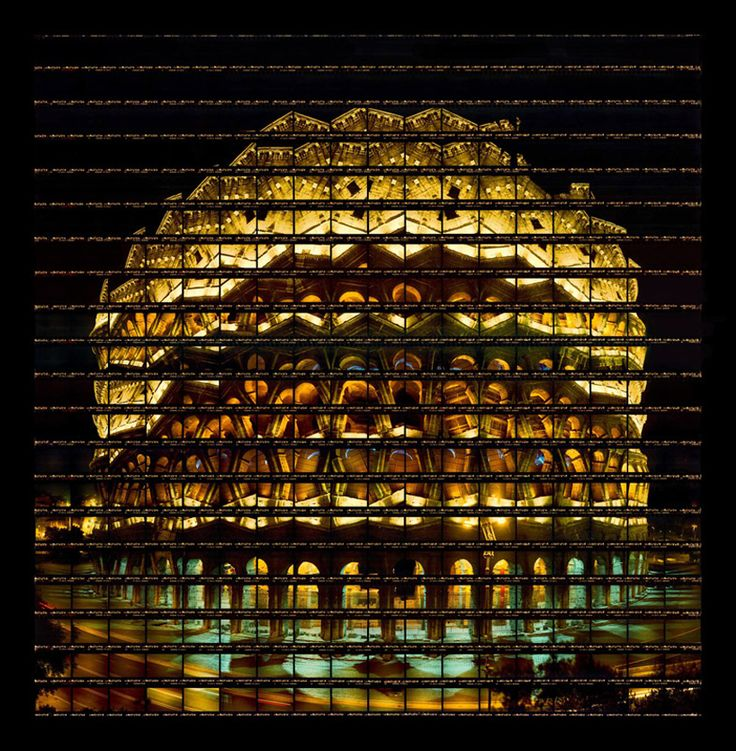 Colosseum at night, Italy ~ artist Thomas Kellner tests and verifies the powerfully iconic nature of renowned landmarks through distinctive mosaic-like compositions. Through the medium of photography, Kellner creates a kaleidoscopic visual play on renowned buildings & structures by taking a series of pictures that, once assembled, recreates the original scene in a playfully distorted manner, producing a de-constructed image that tricks the collective human processes of visual perception.