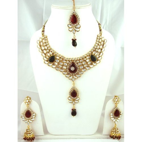 Indian Jewellery And Clothing Polki Necklace Sets From: Amazon.com: Polki Jewlry Sets Red Green Stone Studded