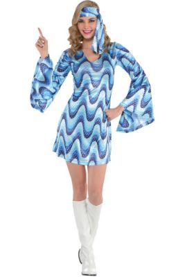d1f920efa932 Adult Dancing Queen Disco Costume Plus Size features flare bottom pants and  sequins. Adult Blue Disco Costume