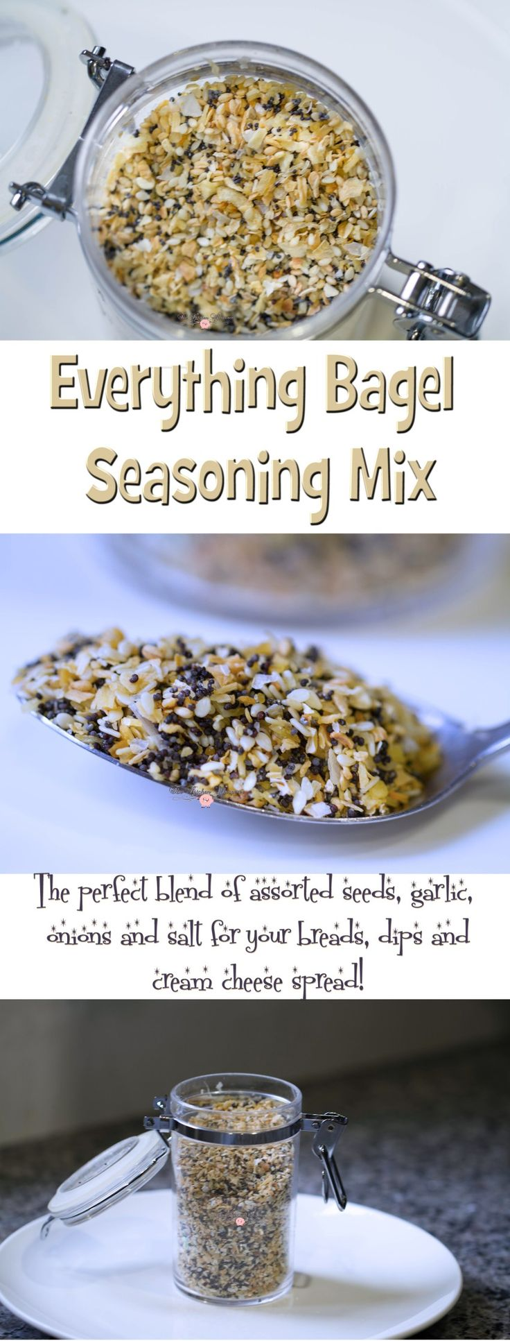 Your life is not complete until you make this Everything Bagel Seasoning Blend! Perfect for bagels, breads, on hummus and with cream cheese!