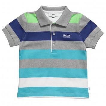 Boss Boys Blue Stripe Polo Shirt