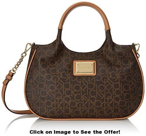 Calvin Klein Monogram Shopper Top Handle Bag, Brown/Khaki/Camel, One Size