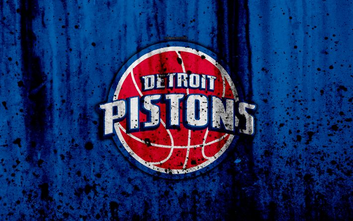 Download wallpapers 4k, Detroit Pistons, grunge, NBA, basketball club, Eastern Conference, USA, emblem, stone texture, basketball, Central Division