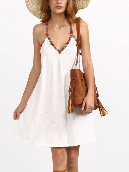 White Boho Dress Cotton Spaghetti Strap V Neck Backless Pom Poms Women's Ethnic Style Slip Dress