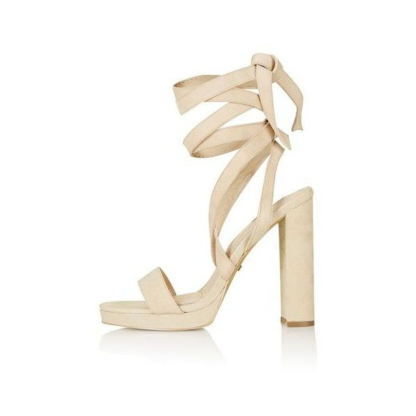 TopShop Lavita Tie Platform Sandals (£56) ❤ liked on Polyvore featuring shoes, sandals, heels, nude, leather strappy sandals, nude heeled sandals, leather strap sandals, platform heel sandals and strappy high heel sandals