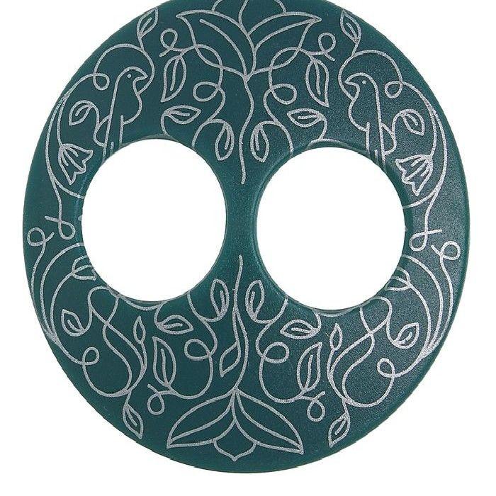"""Волшебная пуговица """"Матовая"""", дизайн, круг, цвет тёмно-зелёный в серебре"""