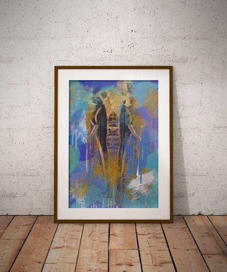 elephant art printable, elephant painting, elephant abstract art, printable wall art
