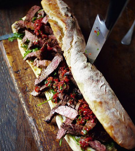 The perfect steak sarnie: Use a ciabatta loaf and dress with horseradish, jarred peppers, parsley and rocket