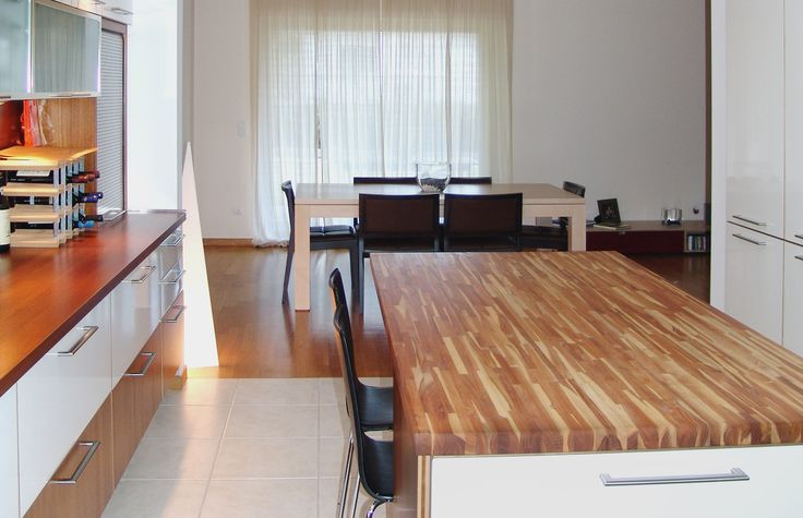 Exceptional Wood Countertop. Mix of white lacquer, oak and glass. MInimal Kitchen Design by AkPraxis.