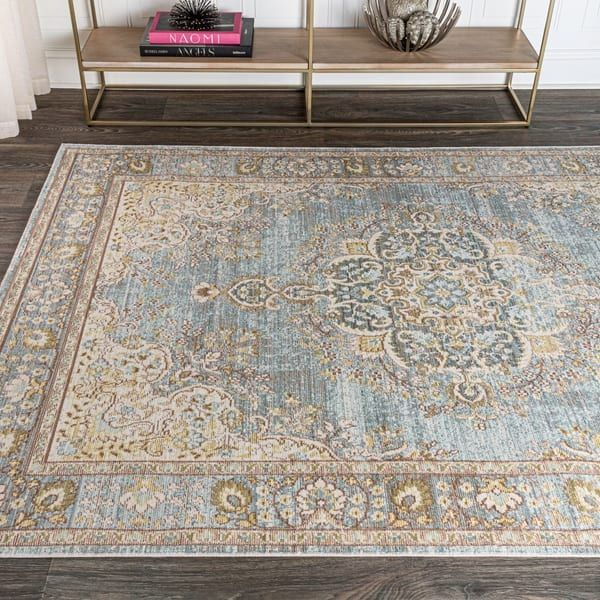 Jonathan Y Goa Floral Medallion Traditional Light Blue Ivory Area