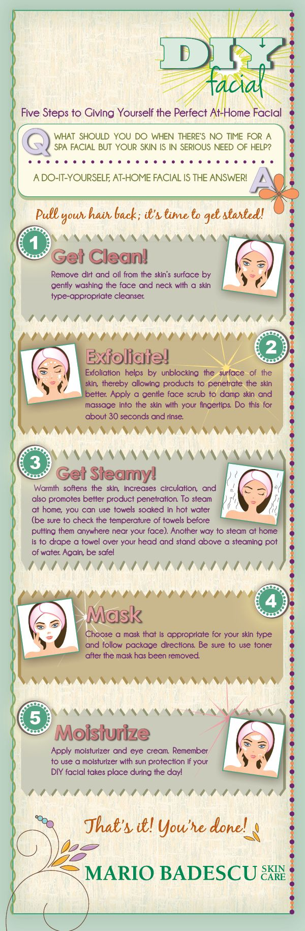 DIY Facial: Five Steps To Giving Yourself The Perfect At-Home Facial [INFOGRAPHIC] PERFECT for those COLLEGE STUDENTS!